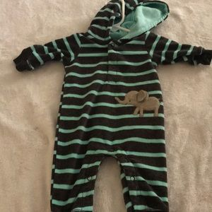 Stripped fleece hooded onesie